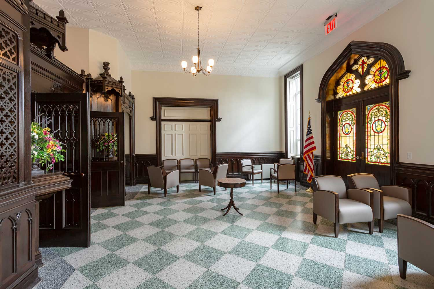 The existing turn-of-the-century convent at Serviam Heights Senior Apartments was adaptively reused