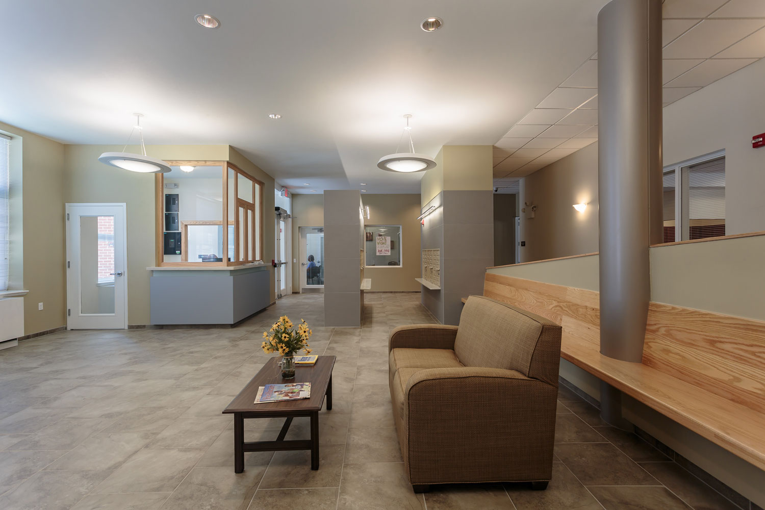 The lobby and lounge area at The Friedrichs.