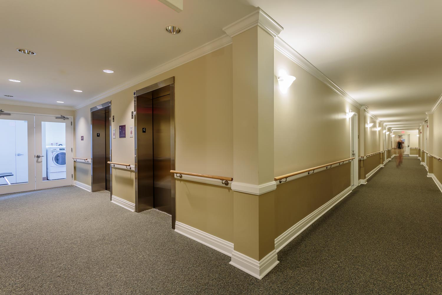 Hallway and laundry area at The Friedrichs.
