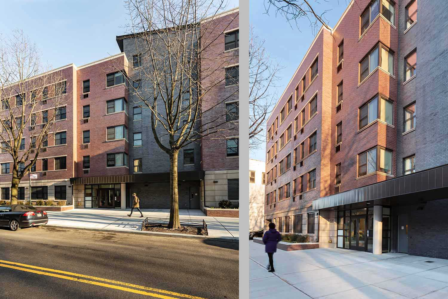 Entry at Gates Avenue Residence, green supportive housing new construction designed by OCV Architects