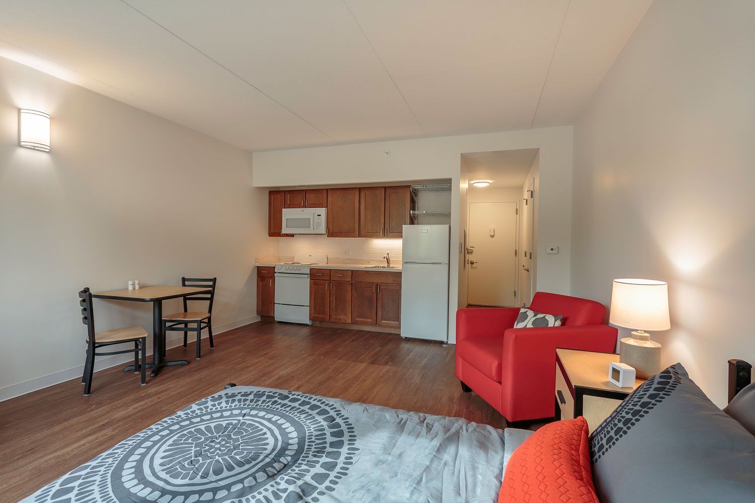 Rooming units at Gates Avenue Residence each have kitchenettes and three piece bathrooms.