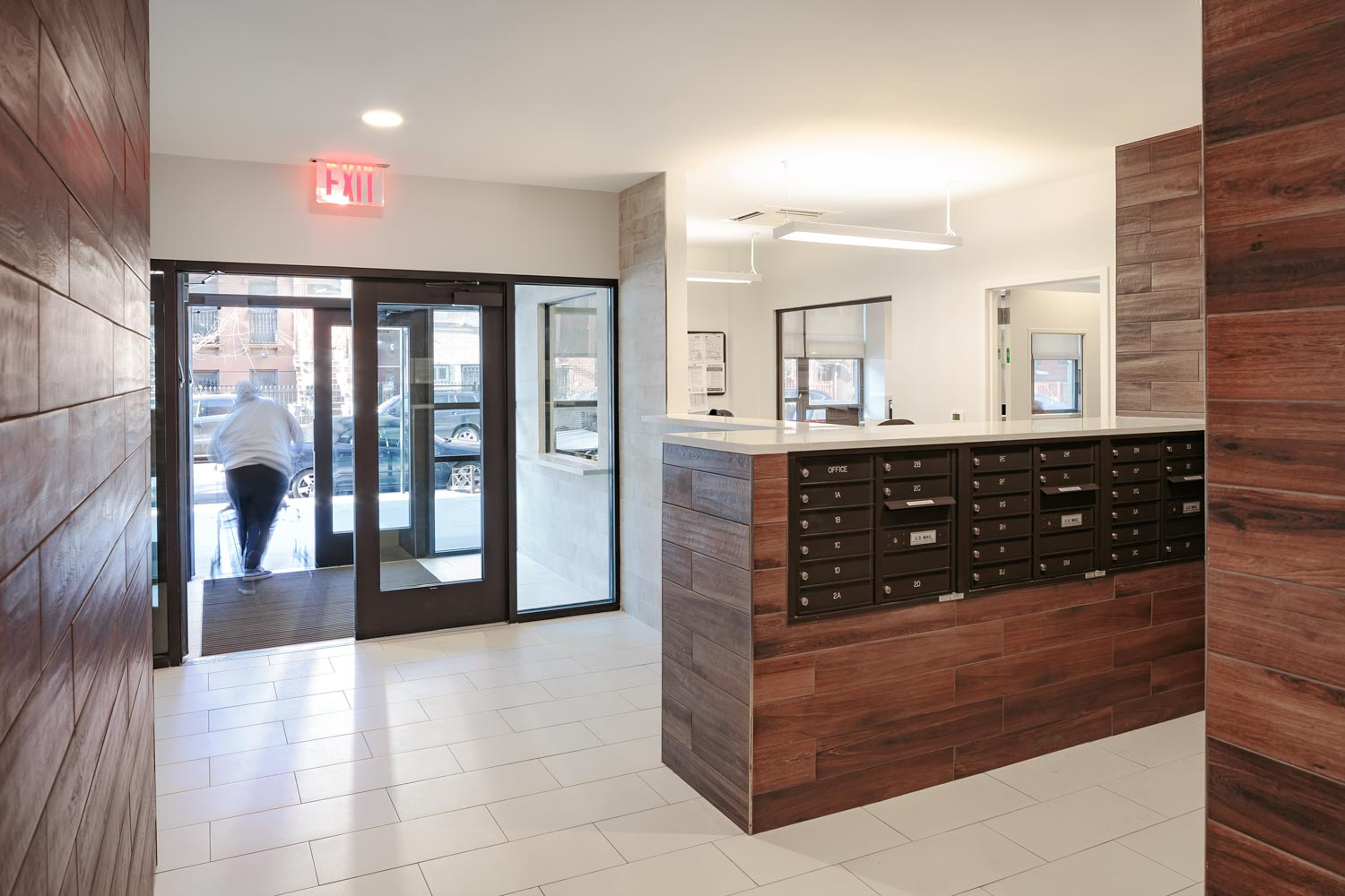 Support offices at Gates Avenue Residence are located off the entry