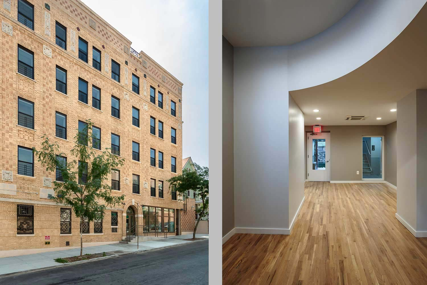 Rehabilitated and reconfigured by OCV, Lee Goodwin provides counseling offices, community spaces and apartments