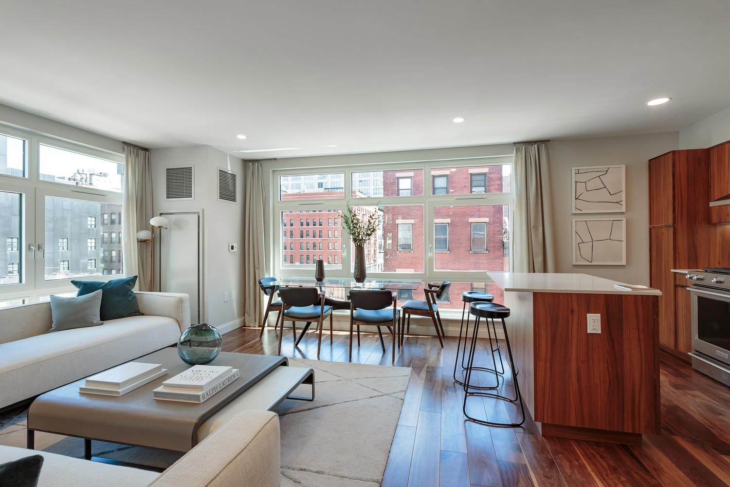 All apartments feature open kitchens and living spaces at Ponte Residences Tribeca