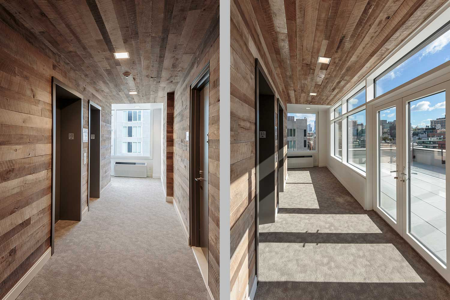 Reclaimed wood finishes the corridors and elevator banks at Ponte Residences Tribeca