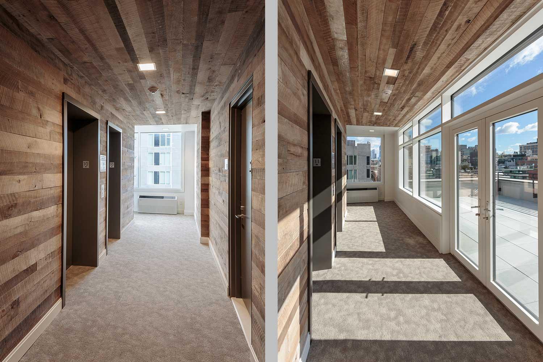 Reclaimed wood in corridors and elevator banks at Ponte Residences, 440 Washington Street Tribeca