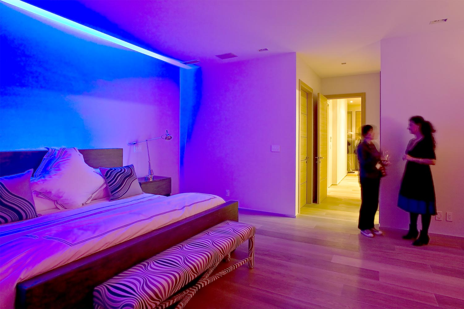 Lighting of this Tribeca duplex penthouse can be controlled through the home automation center