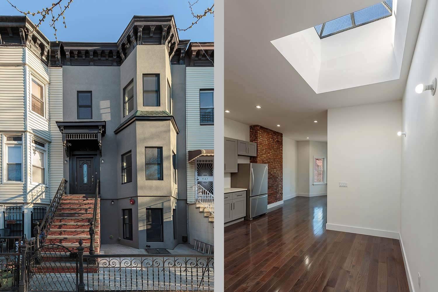 This Decatur Street townhouse was renovated and finished in a stately grey stucco
