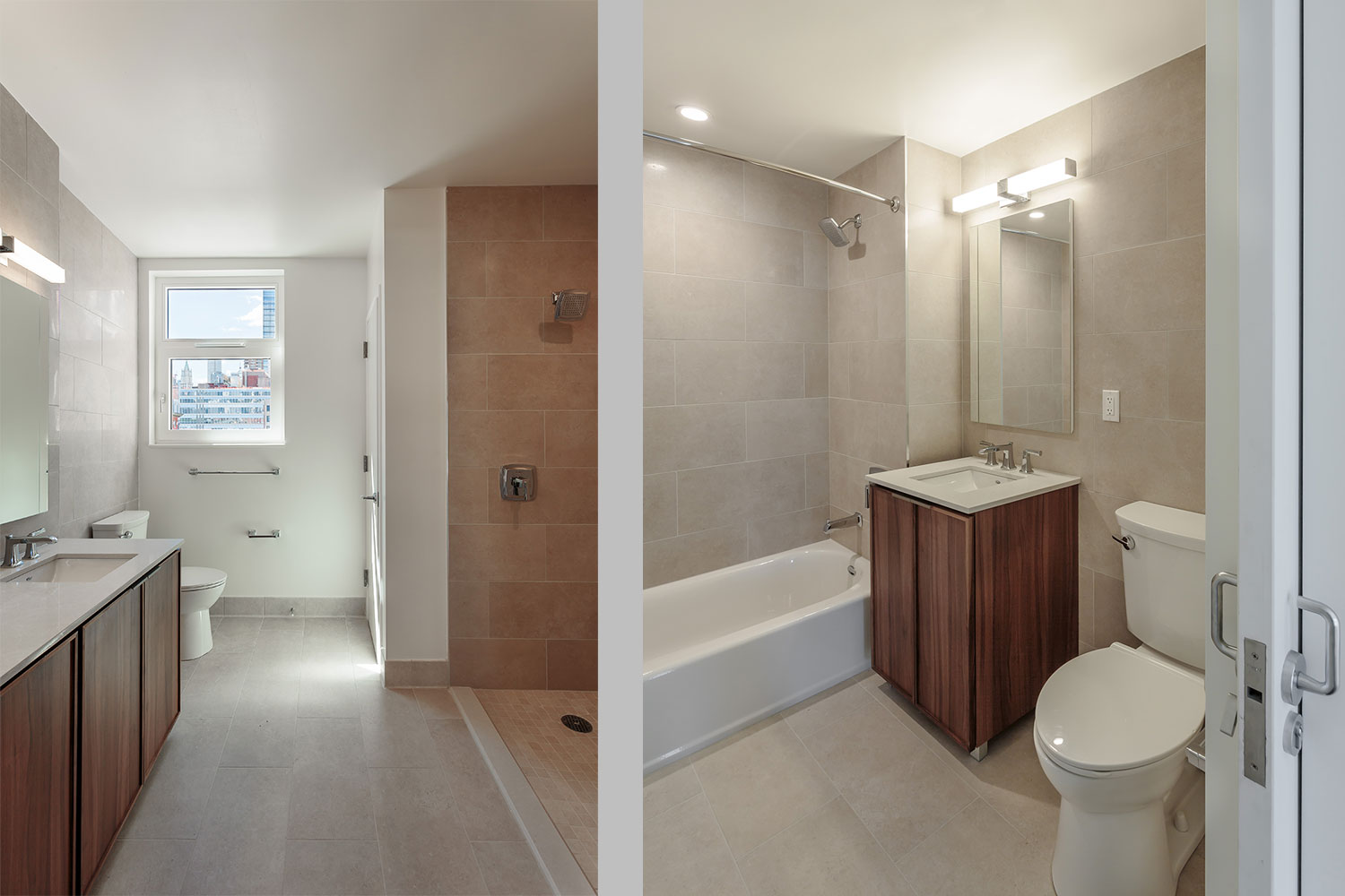 Bathrooms at Ponte Residences. Project by OCV Architects.